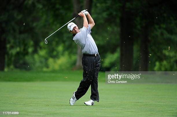 John Huston plays from the 5th fairway during the second round of the Dick's Sporting Goods Open at EnJoie Golf Course on June 25 2011 in Endicott...