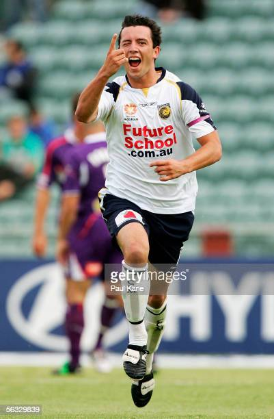 John Hutchinson of the Mariners celebrates a goal during the round fifteen ALeague match between the Perth Glory and the Central Coast Mariners at...