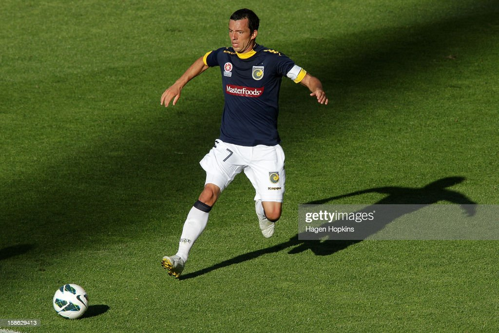 John Hutchinson of the Mariners chases after a loose ball during the round 12 A-League match between the Wellington Phoenix and the Central Coast Mariners at Westpac Stadium on December 22, 2012 in Wellington, New Zealand.