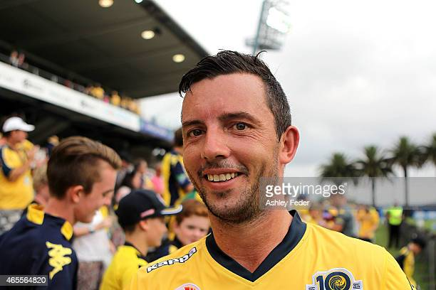 John Hutchinson of the Mariners greets fans after winning during the round 20 ALeague match between the Central Coast Mariners and Melbourne City FC...