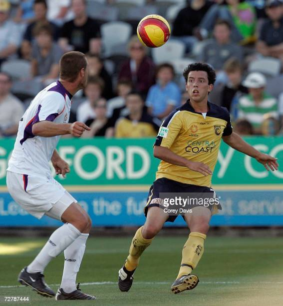 John Hutchinson of the Mariners looks to control the ball during the round sixteen Hyundai A-League match between the Central Coast Mariners and...