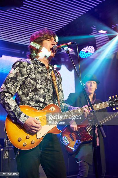 John Idan and Kenny Aaronson of The Yardbirds performing at Under The Bridge on April 15 2016 in London England