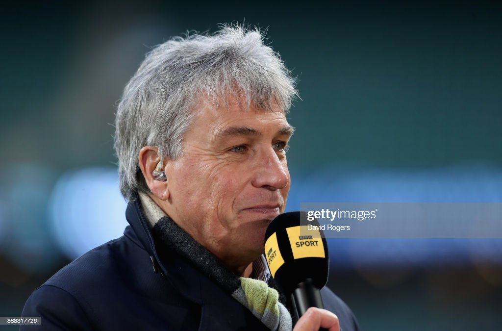 John Inverdale, the BBC Sports presenter looks on during the Varsity match between Oxford University and Cambridge University at Twickenham Stadium on December 7, 2017 in London, England.