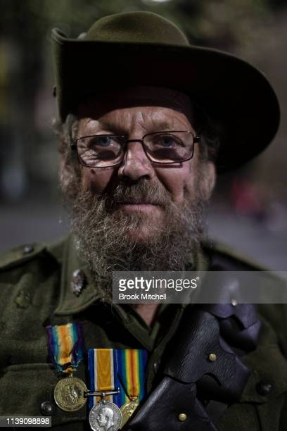 John is pictured wearing WW1 Army atire in Martin Place on April 25 2019 in Sydney Australia Australians commemorating 104 years since the Australian...