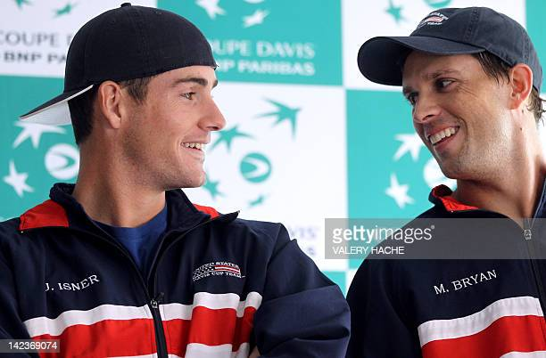 John Isner and Mike Bryan give a press conference, on April 3, 2012 in Monaco, ahead of the France vs. USA Davis Cup quarter final tennis match. The...