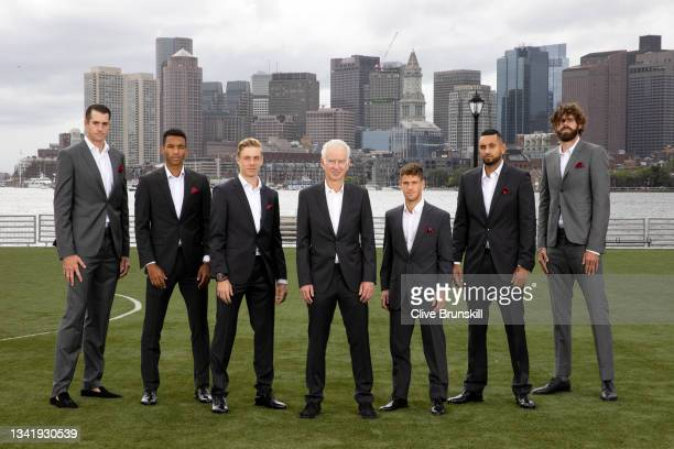 John Isner, Felix Auger-Aliassime, Denis Shapovalov, Captain John McEnroe, Diego Schwartzman, Nick Kyrgios, and Reilly Opelka of Team World pose for...
