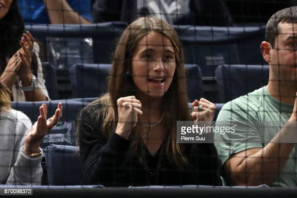 John Isner girlfriend Madison McKinley is seen supporting her fiancee during the Rolex Paris Masters at Hotel Accor Arena Bercy on November 3 2017 in...