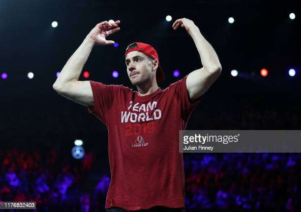 John Isner of Team World celebrates during Day Three of the Laver Cup 2019 at Palexpo on September 22, 2019 in Geneva, Switzerland. The Laver Cup...