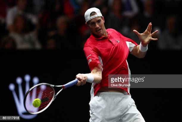 John Isner of Team World plays a forehand during his singles match against Dominic Thiem of Team Europe on the first day of the Laver Cup on...