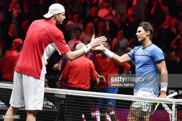 John Isner of the Team World and Spanish Rafael Nadal of the Team Europe salute each other during the Laver Cup in Prague Czech Republic on September...