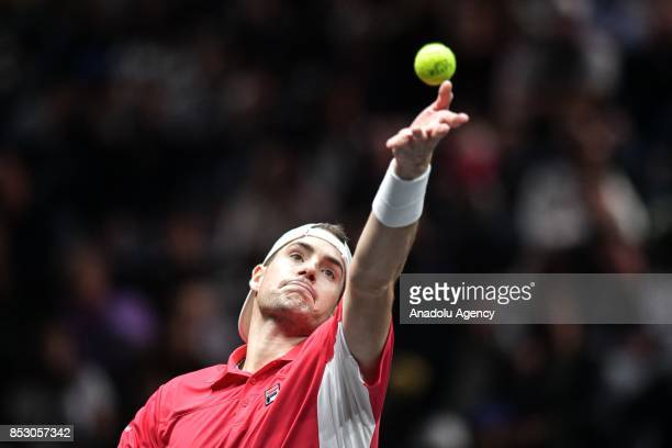 John Isner of the Team World in action against Spanish Rafael Nadal of the Team Europe during the Laver Cup in Prague Czech Republic on September 24...