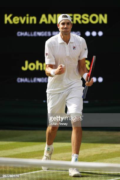 John Isner of The United States celebrates a point against Kevin Anderson of South Africa during their Men's Singles semifinal match on day eleven of...
