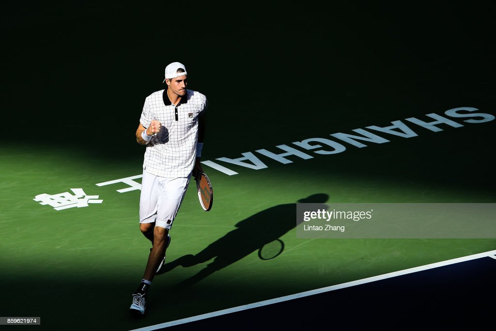 John Isner of the United States celebrates a point during the Men's singles mach against Dusan Lajovic of Serbia on day three of 2017 ATP Shanghai Rolex Masters at Qizhong Stadium on October 10, 2017 in Shanghai, China.