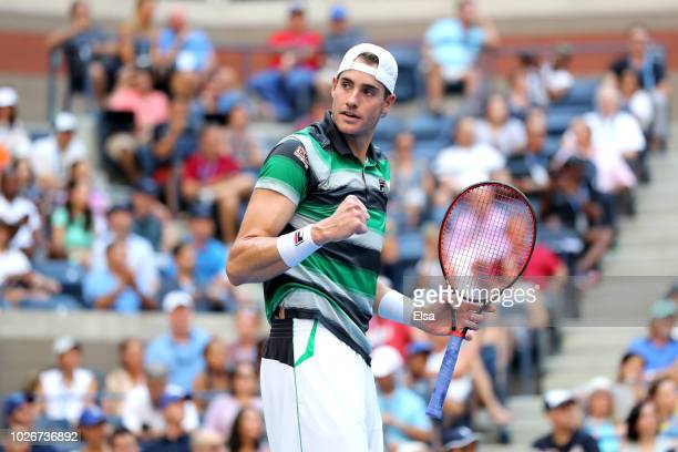 John Isner of The United States celebrates during the men's singles quarterfinal match against Juan Martin Del Potro of Argentina on Day Nine of the...
