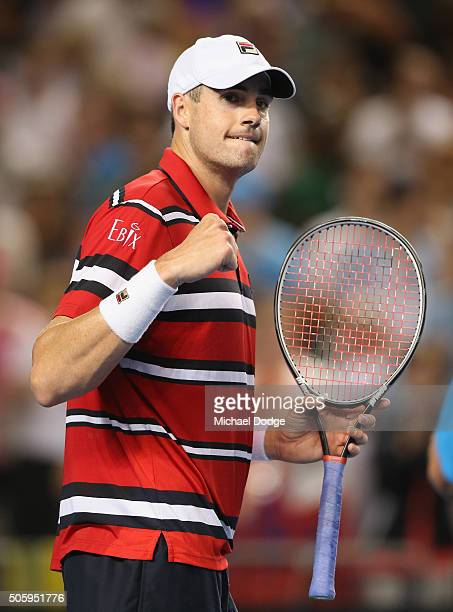John Isner of the United States celebrates in his second round match against Marcel Granollers of Spain during day four of the 2016 Australian Open...