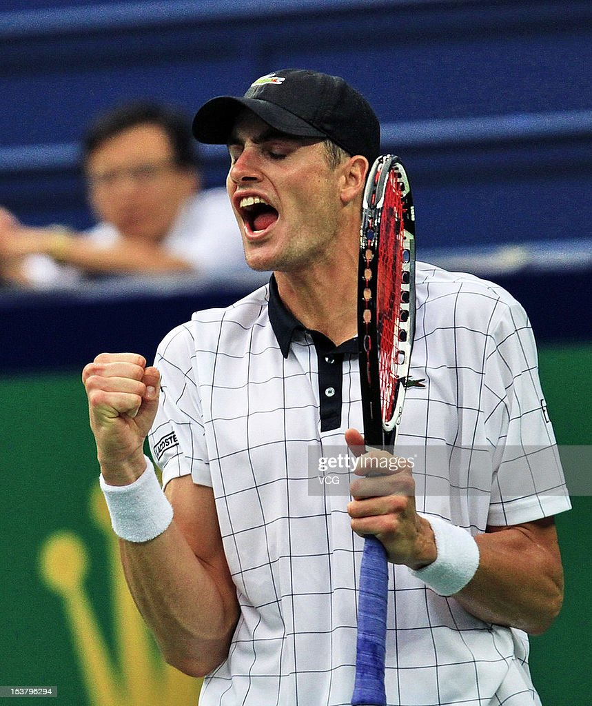 John Isner of the United States celebrates winning against Kevin Anderson of South Africa during day three of the Shanghai Rolex Masters at the Qi Zhong Tennis Center on October 9, 2012 in Shanghai, China.