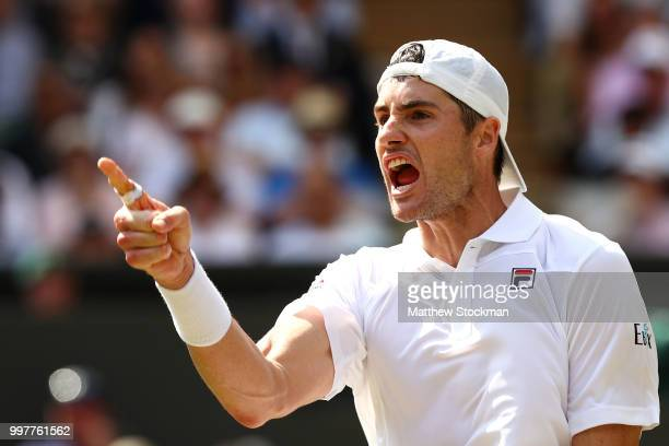 John Isner of The United States celebrates winning the second set against Kevin Anderson of South Africa during their Men's Singles semifinal match...