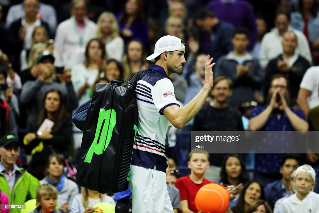 John Isner of the United States reacts after loosing his third round match against Mischa Zverev of Germany on Day Five of the 2017 US Open at the USTA Billie Jean King National Tennis Center on September 1, 2017 in the Flushing neighborhood of the Queens borough of New York City.