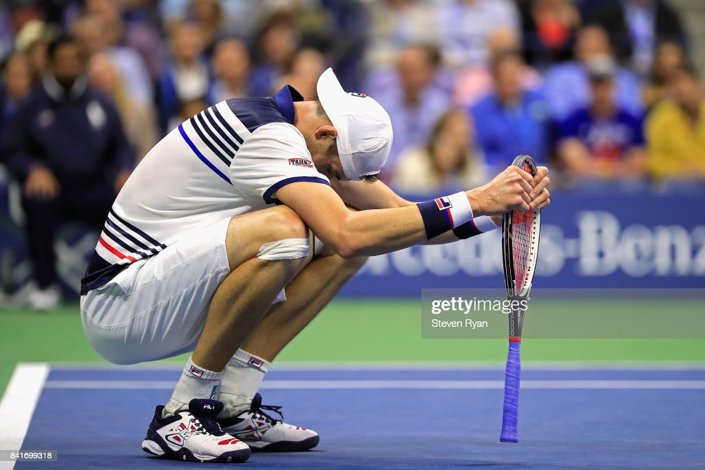 John Isner of the United States reacts in his third round match against Mischa Zverev of Germany on Day Five of the 2017 US Open at the USTA Billie Jean King National Tennis Center on September 1, 2017 in the Flushing neighborhood of the Queens borough of New York City.