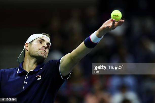 John Isner of the United States serves in his third round match against Mischa Zverev of Germany on Day Five of the 2017 US Open at the USTA Billie...