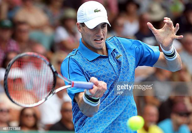 John Isner of the US plays a shot against Lu Yenhsun of Taiwan during the men's singles final at the Heineken Open tennis tournament in Auckland on...