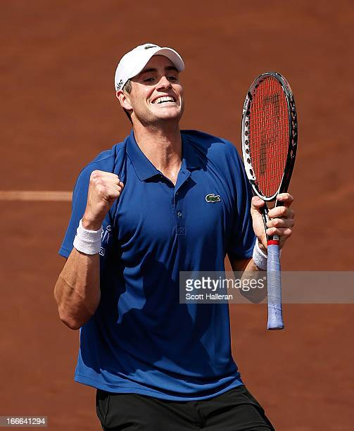 John Isner of the USA celebrates his twoset victory over Nicolas Almagro of Spain during their finals match at the US Men's Clay Court Championships...