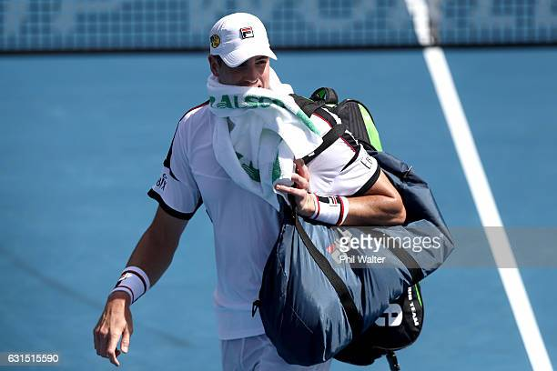 John Isner of the USA leaves the court following his mens singles match against Steve Johnson of the USA during the ASB Classic on January 12 2017 in...