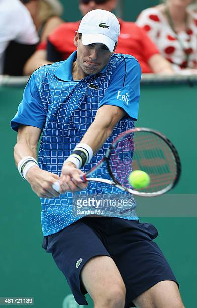 John Isner of the USA plays a backhand during his finals match against YenHsun Lu of Chinese Tapei on day six of the Heineken Open at the ASB Tennis...