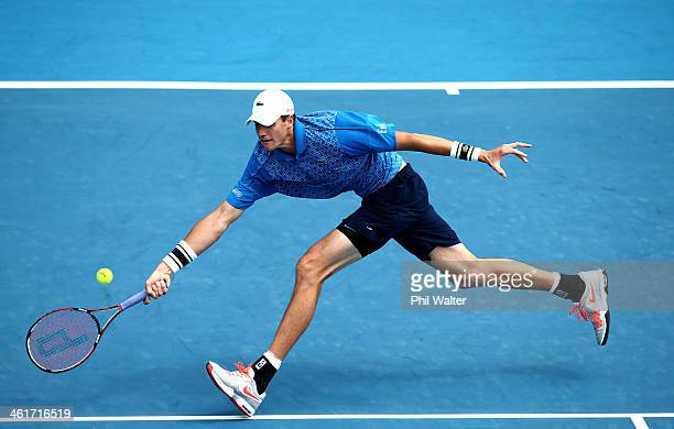 John Isner of the USA plays a forehand during his finals match against YenHsun Lu of Chinese Tapei on day six of the Heineken Open at the ASB Tennis...