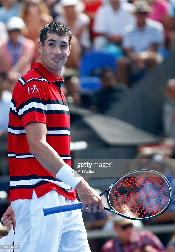 John Isner of the USA reacts in his singles game against Roberto Bautista Agut of Spain during the 2016 ASB Classic at the ASB Tennis Arena on January 14, 2016 in Auckland, New Zealand.