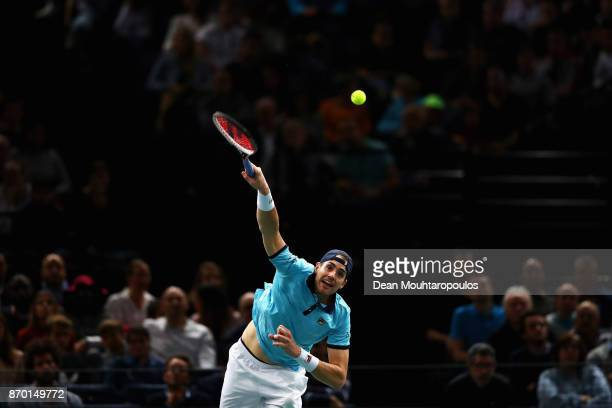 John Isner of the USA serves against Filip Krajinovic of Serbia during the semi finals on day 6 of the Rolex Paris Masters held at the AccorHotels...