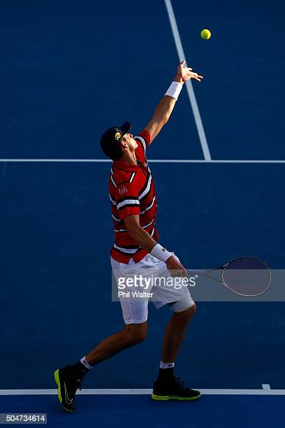 John Isner of the USA serves against Sam Querrey of the USA on Day 3 of the ASB Classic on January 13 2016 in Auckland New Zealand