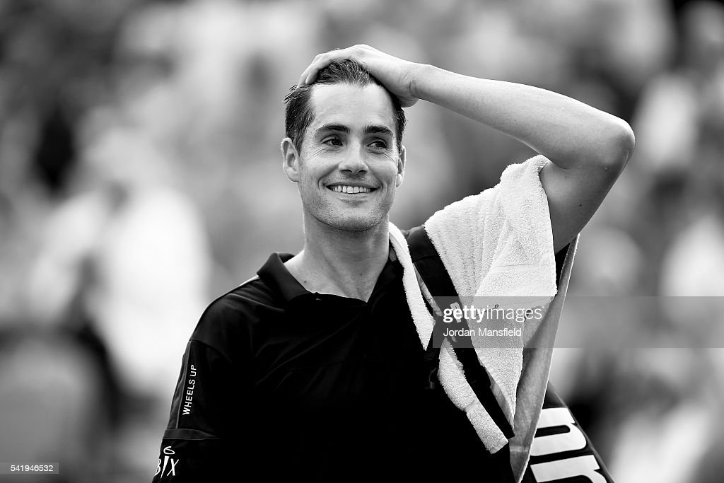 John Isner of the USA walks off court after his match against Fabio Fognini of Italy during day one of The Boodles Tennis Event at Stoke Park on June 21, 2016 in Stoke Poges, England.