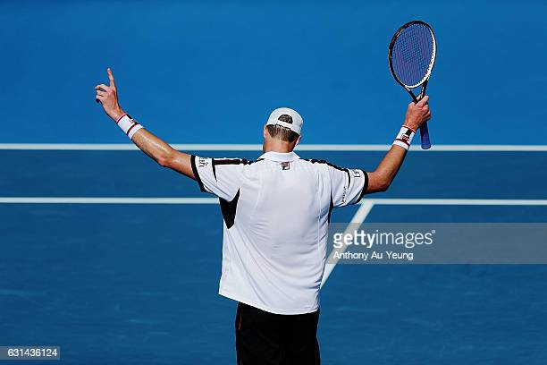 John Isner of USA celebrates after winning his match against Malek Jaziri of Tunisia on day ten of the ASB Classic on January 11 2017 in Auckland New...