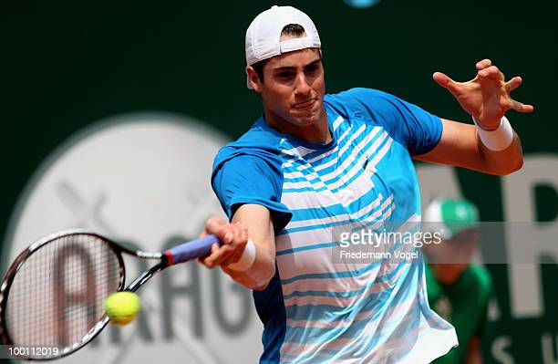 John Isner of USA in action during his match against Tomas Berdych of Czech Republic during day six of the ARAG World Team Cup at the Rochusclub on...