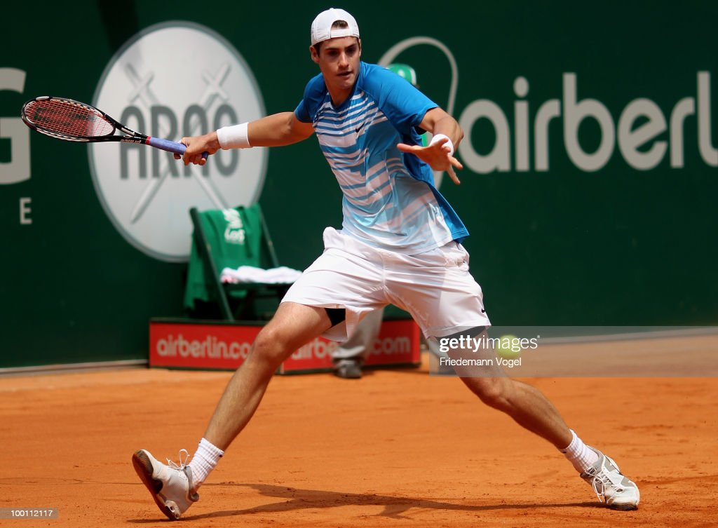John Isner of USA in action during his match against Tomas Berdych of Czech Republic during day six of the ARAG World Team Cup at the Rochusclub on May 21, 2010 in Duesseldorf, Germany.