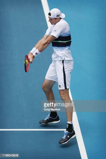 John Isner of USA plays a backhand against Tennys Sandgren of USA during day three of the 2020 Men's ASB Classic at ASB Tennis Centre on January 15,...