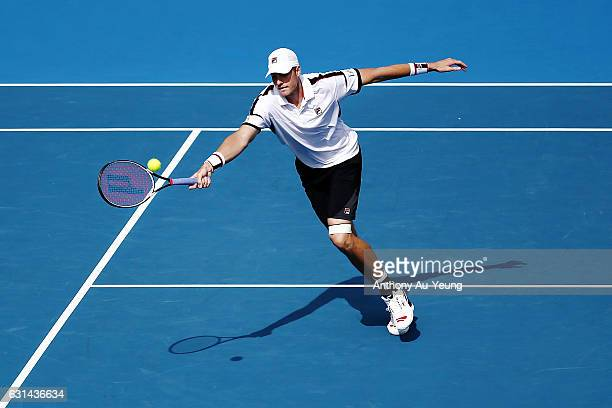 John Isner of USA plays a volley in his match against Malek Jaziri of Tunisia on day ten of the ASB Classic on January 11 2017 in Auckland New Zealand