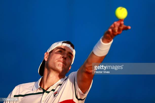 John Isner of USA serves during the singles match between John Isner of USA and Marcos Giron of USA as part of the ATP Mexican Open 2020 Day 3 on...