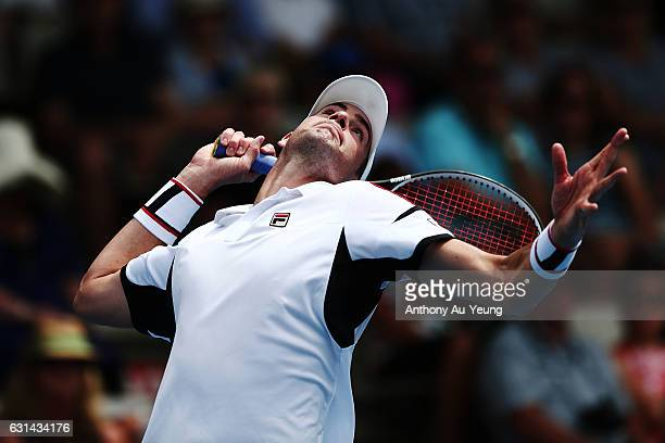 John Isner of USA serves in his match against Malek Jaziri of Tunisia on day ten of the ASB Classic on January 11, 2017 in Auckland, New Zealand.