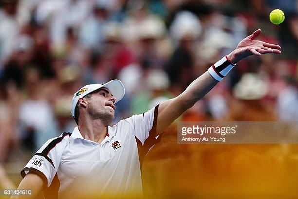 John Isner of USA serves in his match against Malek Jaziri of Tunisia on day ten of the ASB Classic on January 11 2017 in Auckland New Zealand