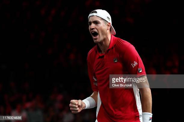 John Isner playing partner of Jack Sock of Team World celebrates in his doubles match against Roger Federer and Stefanos Tsitsipas of Team Europe...