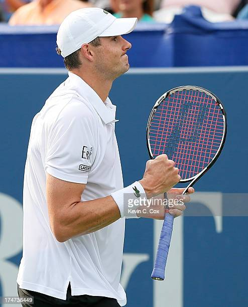 John Isner reacts after defeating Kevin Anderson of South Africa during the BBT Atlanta Open in Atlantic Station on July 28 2013 in Atlanta Georgia
