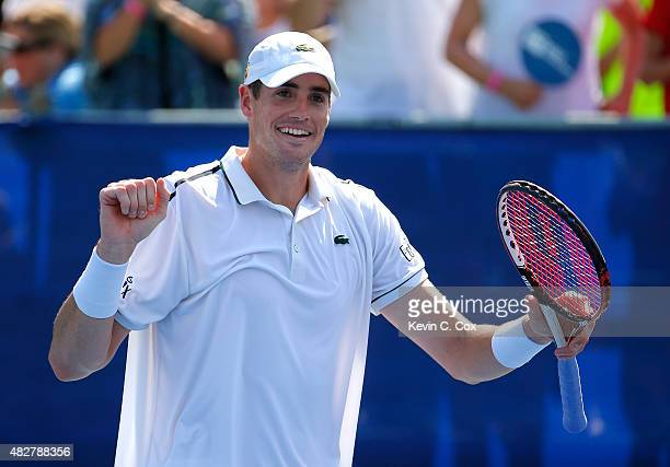 John Isner reacts after defeating Marcos Baghdatis of Cyprus during the BB&T Atlanta Open Final at Atlantic Station on August 2, 2015 in Atlanta,...