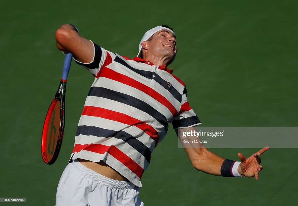 John Isner serves to Ryan Harrisonduring the BB&T Atlanta Open at Atlantic Station on July 29, 2018 in Atlanta, Georgia.