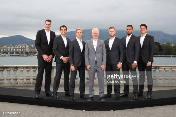 John Isner Taylor Fritz Denis Shapovalov John McEnroe Jack Sock Nick Kyrgios and Milos Raonic of Team World pose for a photo prior to the Laver Cup...