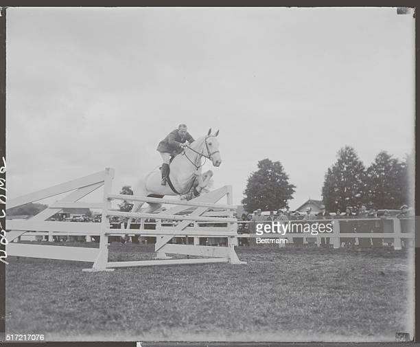 John J Farrell of Darien Conn making a jump on Barney Castle at the third annual Danbury Horse Show