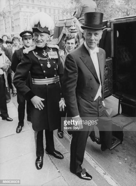 John J Louis Jr the United States Ambassador to the United Kingdom boards the carriage at the American Embassy in London to present his credentials...