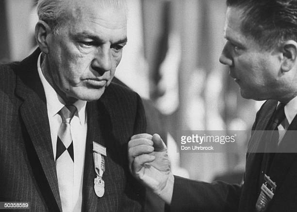 John J. O'Rourke talking with James R. Hoffa at the Teamsters Convention.