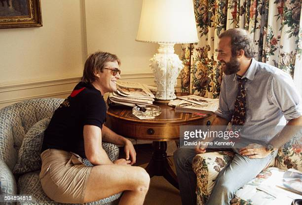 John Jack Gardner Ford son of President Gerald Ford chats with White House photographer David Hume Kennerly at the White House circa 1975 in...